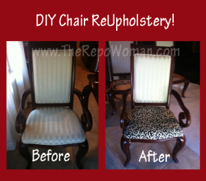 Step by Step Instructions for Dining Room Chair ReUpholstery!  No Sewing Required!