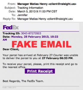 Warning ALERT:  Fedex Email Virus